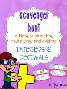 Integers and Decimals Scavenger Hunt