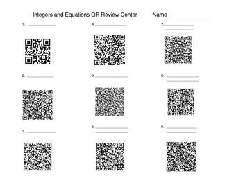 Integers and Equations QR codes