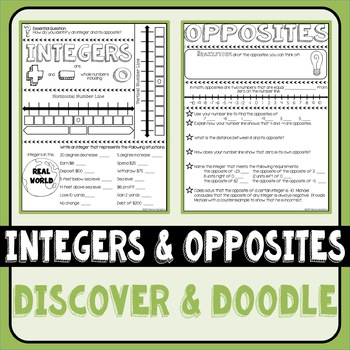 Integers and Opposites Doodle Notes