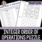 Order of Operations with Integers Puzzle