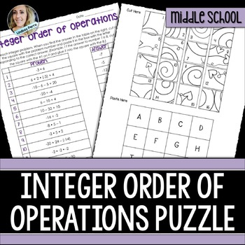 Order Of Operations With Integers Puzzle By Lindsay Perro Tpt