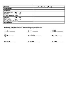 Integers and Orders of Operations