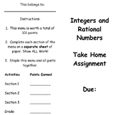 Integers and Rational Numbers Assessment/Review