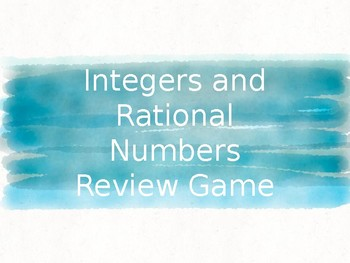 Integers and Rational Numbers Review Game