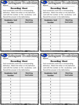 Integers and Rational Numbers Vocabulary Matching Activity
