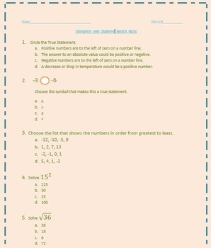 Integers and Squares Quick Quiz