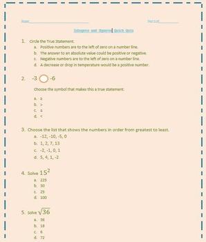 Integers and Squares Quick Quiz