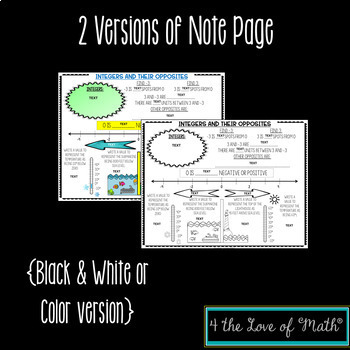Integers and Their Opposites Digital Note Pages for Google Slides™