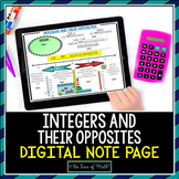 Integers and Their Opposites Digital Note Pages for Google
