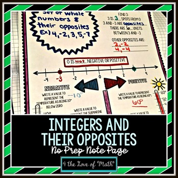 Integers and Their Opposites No Prep Note Page