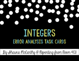 Integers and the Coordinate Plane Error Analysis Task Cards