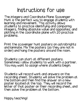 Integers and the Coordinate Plane Scavenger Hunt