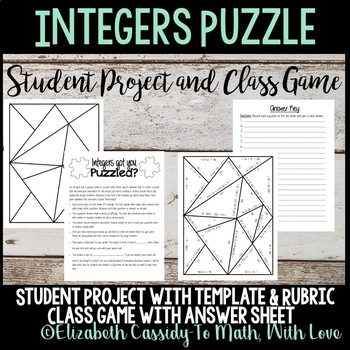 Integers Student Project-Classroom Game-Puzzle Creation