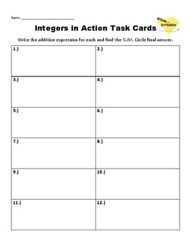 Integers in Action Add Integers Task Cards