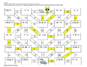 Integers maze mixed operations