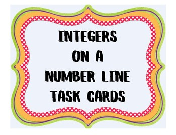 Integers on a Number Line Task Cards