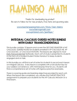 Integral Calculus Guided Notes Bundle