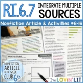 Integrate Multiple Sources RI.6.7 | Too Much Screen Time Article #6-16