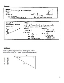 Integrated Algebra Ch 6 Trig Ratios and Pythagorean Theorem