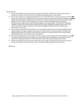 Integrated CCSS & ELPA21 Starter Lesson Plan for Grade 1 (Listening & Reading)