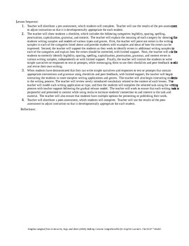Integrated CCSS & ELPA21 Starter Lesson Plan for Grade 2 (Speaking & Writing)