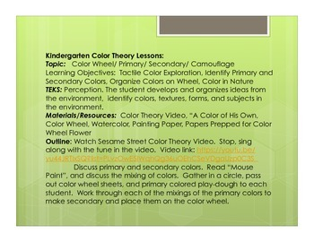 Integrated Color Theory Unit for Kindergarten