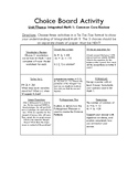 Integrated Math 1 Choice Board - Common Core Review