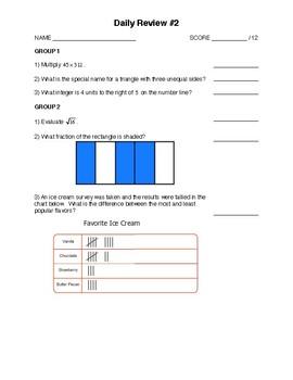 Integrated Math 1 - Pre Algebra Mini-Set #2
