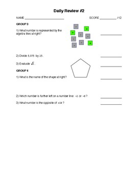 Integrated Math 1 - Pre Algebra Mini-Set #2