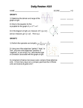 Integrated Math 4 - Over 1500 Review Questions!