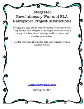Integrated Revolutionary War and ELA Newspaper Project Instructions