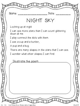 Integrated Science (SC.1.E.5.1 Night Sky) & Short U - Poem & Mini Unit Preview