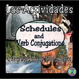 Verb Conjugation Worksheets:  Integrated Topic for Spanish 1