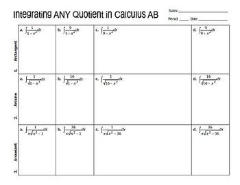 Integrating Any Quotient in Calculus AB
