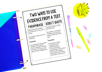 Integrating Information | Text Based Writing RI.4.9 and RI.5.9