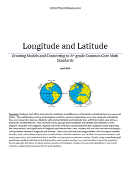 Integrating Longitude and Latitude with 6th Grade Common Core Math Standards