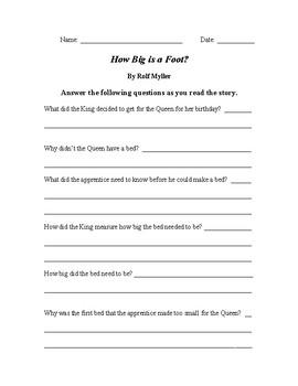 Integrating Mathematics & Language Arts - How Big is a Foot Reader Response