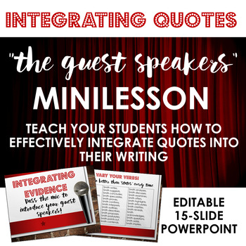 "Integrating Quotes: The ""Guest Speakers"" - Minilesson for Writing Workshop"