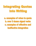 Integrating Quotes into Writing