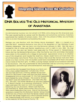 Integrating Science Across the Curriculum: DNA Solves the Mystery of Anastasia