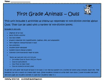 Owls- Integrating  Science and Reading