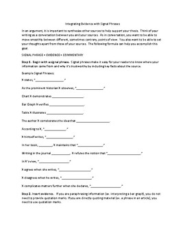 Integrating Sources with Signal Phrases Handout (AP Language Synthesis)