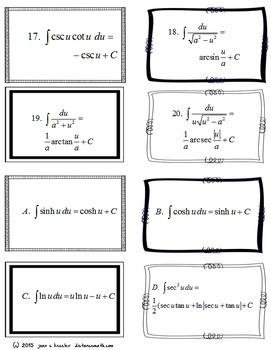 Calculus: Integration Flash - Study Cards
