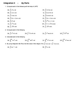Integration II – By Parts