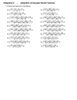 Integration II – Integration of Improper Partial Fractions