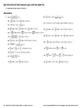 Integration II – Integration of Proper Partial Fractions