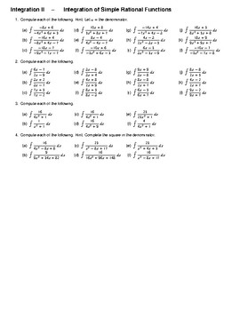 Integration II – Integration of Simple Rational Functions