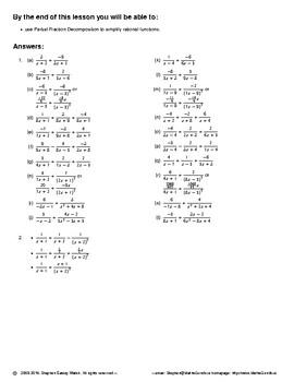 Integration II – Proper Partial Fractions