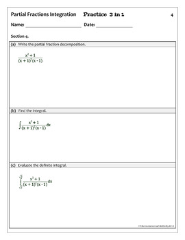 Calculus Integration by Partial Fractions & LD - Practice 3 in 1(full solutions)