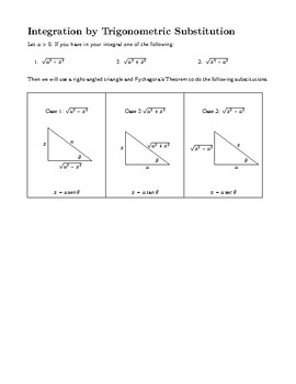 Integration by Trigonometric Substitution